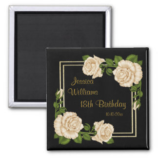 Elegant Ivory Roses & Gold Glitter 18th Birthday Magnet