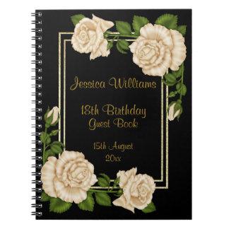 Elegant Ivory Roses & Gold Glitter 18th Birthday Notebooks