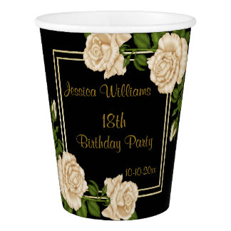 Elegant Ivory Roses & Gold Glitter 18th Birthday Paper Cup