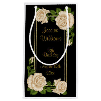 Elegant Ivory Roses & Gold Glitter 18th Birthday Small Gift Bag