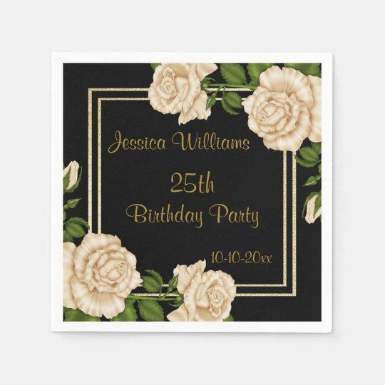Elegant Ivory Roses & Gold Glitter 25th Birthday Disposable Napkin