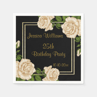 Elegant Ivory Roses & Gold Glitter 25th Birthday Napkin
