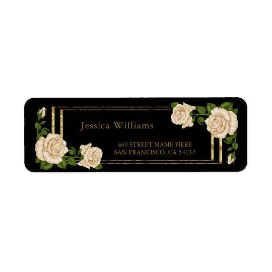 Elegant Ivory Roses & Gold Glitter Return Address Label