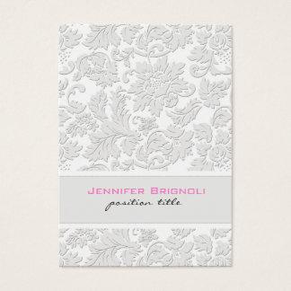 Elegant Ivory White Floral Damasks Embossed Effect Business Card