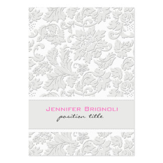 Elegant Ivory White Floral Damasks Embossed Effect Pack Of Chubby Business Cards