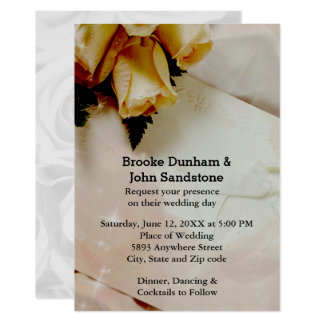Elegant Ivory with Yellow & White Roses Wedding Card