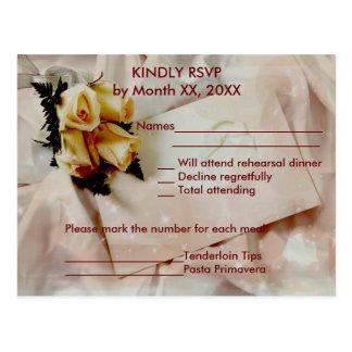 Elegant Ivory Yellow Roses RSVP Rehearsal Postcard