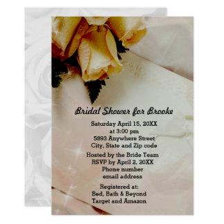 Elegant Ivory - Yellow White Roses Bridal Shower Card