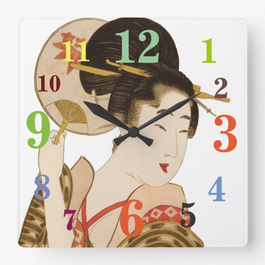 Elegant Japanese Geisha With Fan Wall Clock