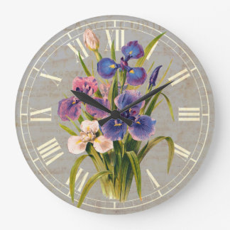 Elegant Japanese Purple Irises Antique Style Large Clock