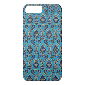 Elegant Jeweled Damask on Blue iPhone 7 Plus Case