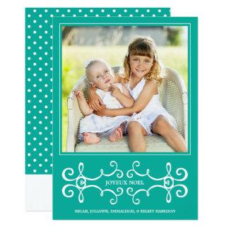 Elegant Joyeux Noel Holiday Photo Card / Aqua