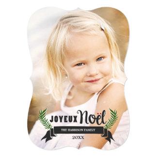 "Elegant Joyeux Noel Holiday Photo Card / Dark 5"" X 7"" Invitation Card"
