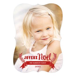 "Elegant Joyeux Noel Holiday Photo Card / Red 5"" X 7"" Invitation Card"