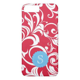 Elegant Juicy Apple Red Wallpaper Swirl Monogram iPhone 8 Plus/7 Plus Case