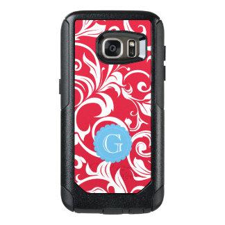 Elegant Juicy Apple Red Wallpaper Swirl Monogram OtterBox Samsung Galaxy S7 Case