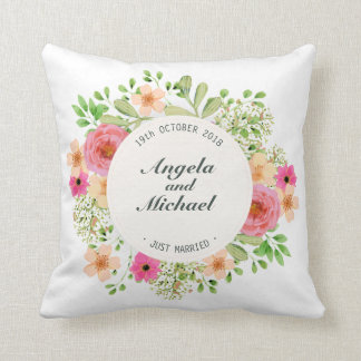 Elegant Just Married Floral Wedding | Throw Pillow