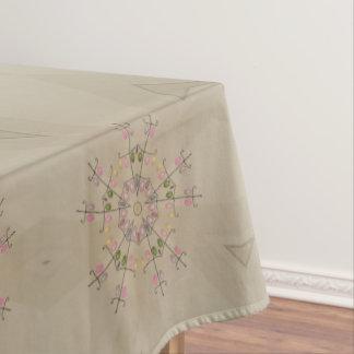 Elegant Kaleidoscopic Flower Design Pastel Tablecloth