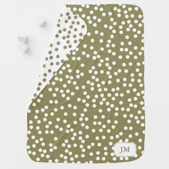 Elegant Khaki / Olive Green Polka Dot Pattern Baby Swaddle Blanket