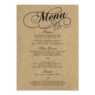 Elegant Kraft Wedding Menu Templates Card