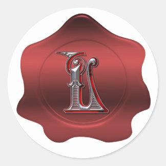 Elegant L Monogram Red Wax Seal Look Sticker