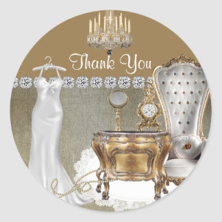 Elegant LABELS FOR WEDDING SHOWER FAVOR THANK YOU Round Sticker