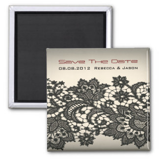 elegant Lace beige vintage wedding Savethedate Refrigerator Magnets