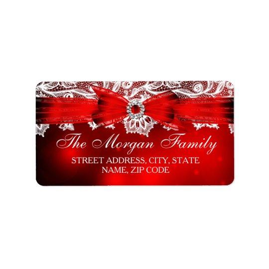 Elegant Lace & Bow Christmas Address Labels