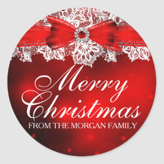 Elegant Lace & Bow Christmas Holiday Sticker