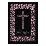 Elegant Lace Cross Baby Holy Baptism Inviation Custom Invitation