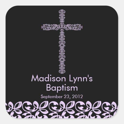 Elegant Lace Cross Holy Baptism Favor Seal Square Sticker