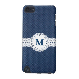 Elegant Lace Custom Monogram with Blue Pattern iPod Touch 5G Cover