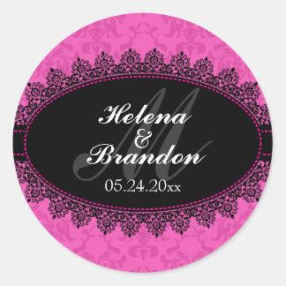 Elegant Lace & Damask Monogram Wedding Seals Round Sticker