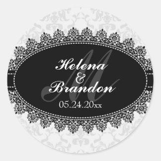 Elegant Lace Damask Monogram Wedding Seals Round Stickers