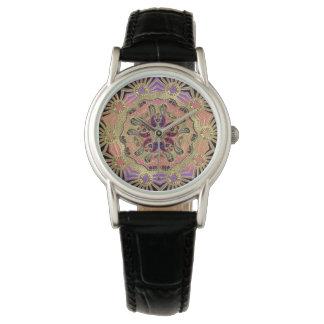 Elegant Lace Mandala On Gold Wristwatch