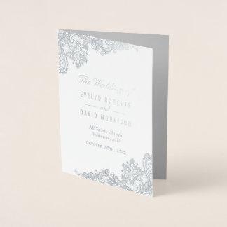 Elegant Lace Real Foil Silver Gray Wedding Program Foil Card