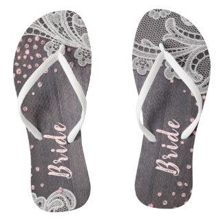 Elegant Lace rustic wood blush glitter bride Flip Flops