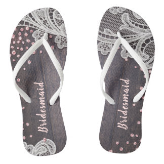 Elegant Lace rustic wood blush glitter bridesmaid Flip Flops