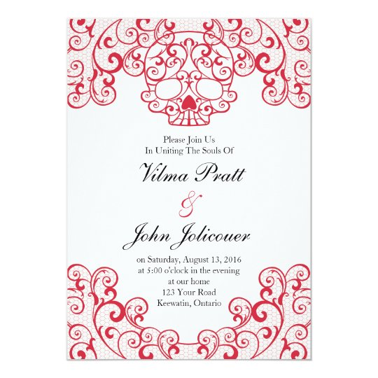 Elegant Lace Skull Calavera Invitation Card in Red