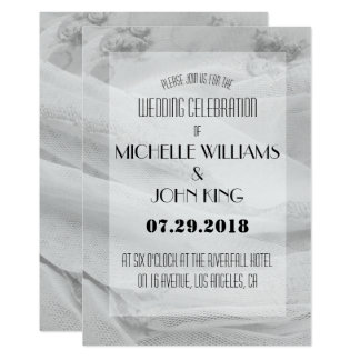 Elegant Lace Wedding Invitation in Black and White