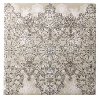 Elegant laced  golden white pattern tile