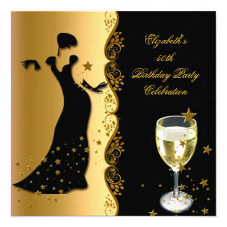 Elegant Lady 50th Birthday Party Gold Black Wine Card