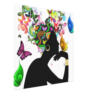 Elegant Lady and Butterflies Stretched Canvas Print