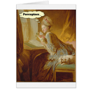 Elegant Lady Thinks About Porcupines Card