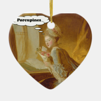 Elegant Lady Thinks About Porcupines Ceramic Ornament
