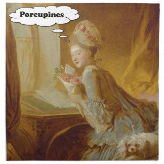 Elegant Lady Thinks About Porcupines Napkin