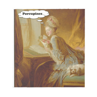 Elegant Lady Thinks About Porcupines Notepad