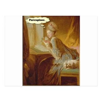 Elegant Lady Thinks About Porcupines Postcard
