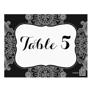 Elegant Large Black Medallion Pattern Table Number Postcard