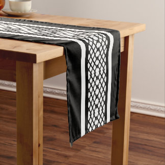Elegant Lattice Black and White Vertical Striped Short Table Runner